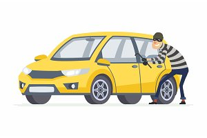 Car thief - cartoon people characters illustration
