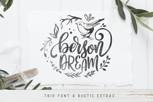 Script Fonts: BlackCatsMedia - Berson Dream Font TRIO and extras