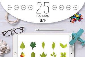 Leaf icon set, flat style