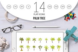 Palm tree icon set, flat style
