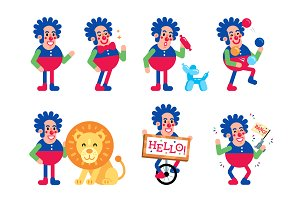 Funny Flat Circus Clown and Lion