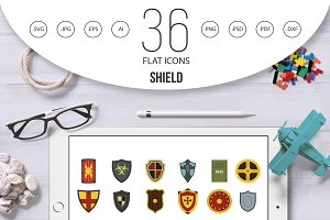 Shield icon set, flat style