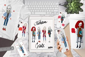 Vector Street Fashion Girl Set