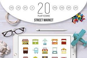 Street market icon set, flat style