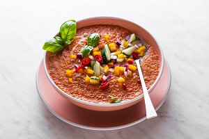 Traditional spanish andalusian tomato cream soup - salmorejo. Sa