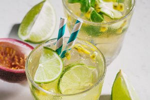 Summer lemonade with ice and lime