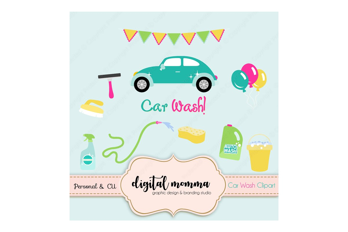 Car Wash Clipart Set Illustrations Creative Market