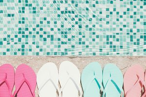 Flip flops near the pool