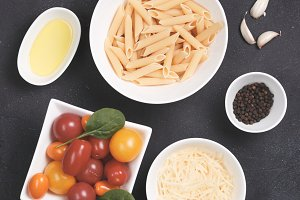 Pasta background in cold toning