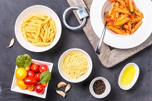 Classic pasta with ingredients