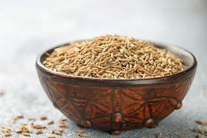 Cumin seeds (Zira) in a ceramic bowl