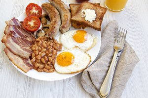 Flat lay of full English breakfast