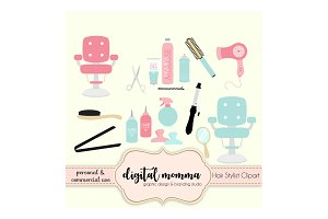 Hair Stylist, Salon Clipart Set
