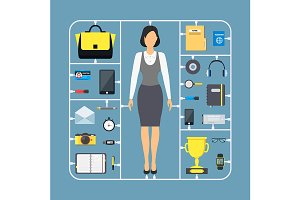 Cartoon Assemble Businesswoman Set.