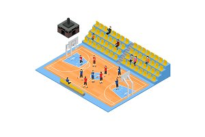 Basketball Field and Tribune 3d