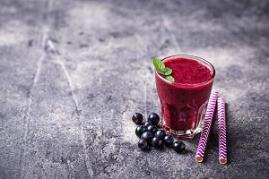 Sweet healthy blueberry smoothie cocktail
