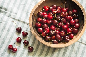 cherries in a wooden bowl on table