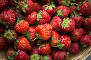 close-up of strawberries in a basket