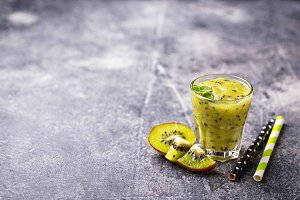Sweet healthy kiwi smoothie cocktail