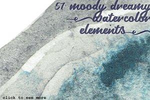 57 Moody Watercolor Elements Bundle