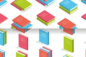 Seamless pattern Isometric books