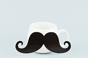 White coffee mug with mustache