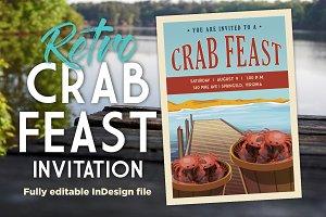 Retro Summer Crab Feast Invite