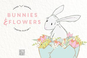 Bunnies and flowers, nursery decor