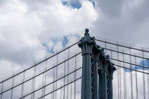 Detail of suspension cables on Manhattan Bridge New York