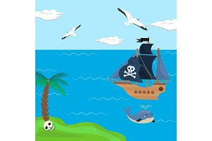 Pirate ship vector kids cartoon piracy backdrop with pirateboat or sailboat on seaside with island and palm illustration marine background for children