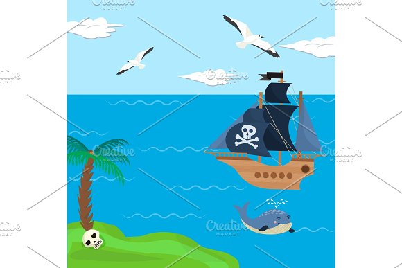 pirate ship vector kids cartoon piracy backdrop with pirateboat or