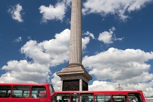 Red buses & Trafalgar Square