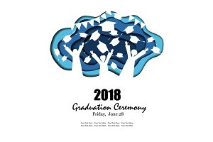 Graduation party background in paper art style