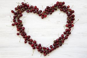 Cherries in the shape of heart