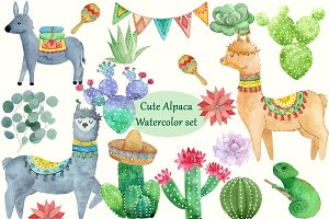 Cute Alpaca and Cacti set