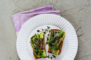 Vegan avocado toasts
