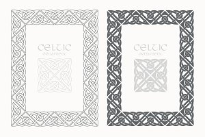 Celtic knot braided frame border ornaments. A4 size