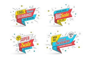 Retro-futuristic promotion banner, scroll, price tag