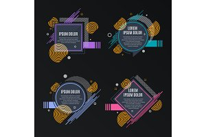 Abstract frames for sale styled banners, labels, tags