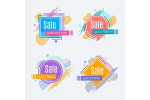 Colorful abstract frames for sale styled banners, labels, tags