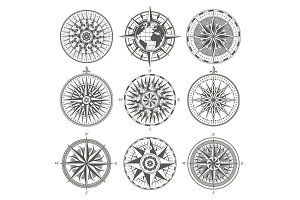 Set of vintage antique wind rose nautical compass signs labels e