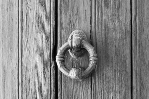 Ancient Doorknob in Black and White