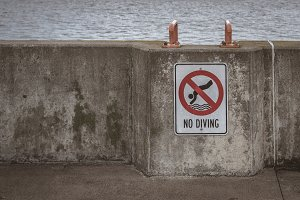 No Diving Sign on Pier