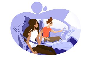 Guy and girl driving in car