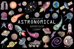 Astronomical (Watercolor Clip art)