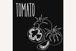 Chalkboard ripe tomato vegetable
