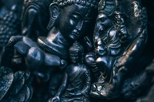 Black Painted Buddhist Statues Group