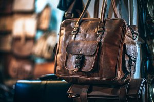 Vintage Brown Leather Bag Hanging in