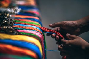 Colorful Thin Threads Placed in Row