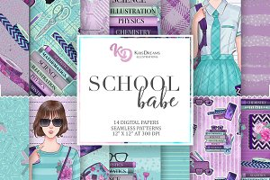 School Babe Digital Papers